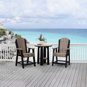 36 inch balcony table with adirondack balcony chair weatherwood black