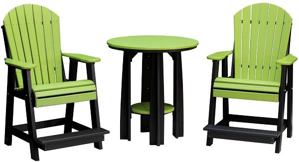 36inch balcony table & adirondack balcony chairs (lime green & black)re