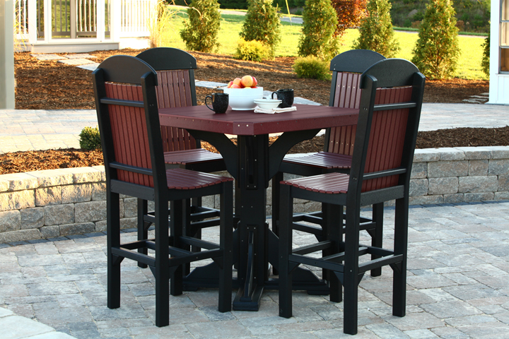 bar table with class chairs cherrywood black