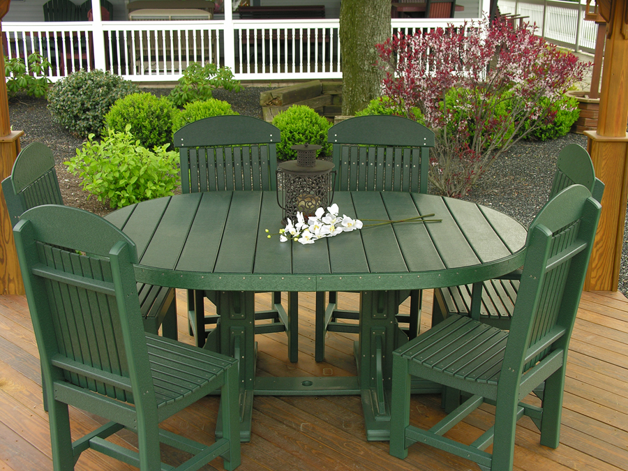 4x6 oval table set green