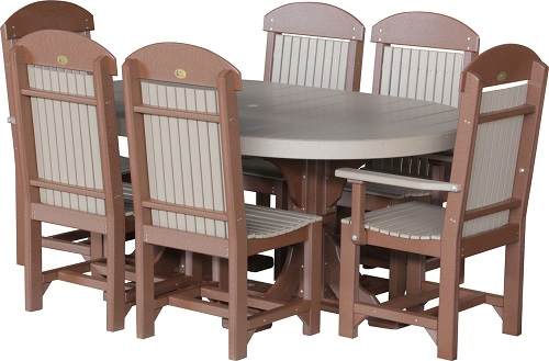 4x6 oval table set 2 weatherwood & chestnut brown re