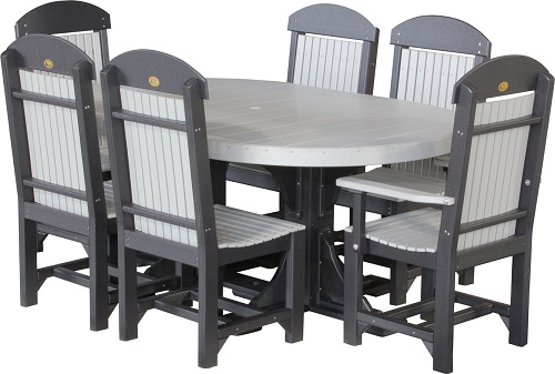 4x6 oval table set 2 dove grey black