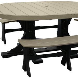 4x6 oval table set 3 black