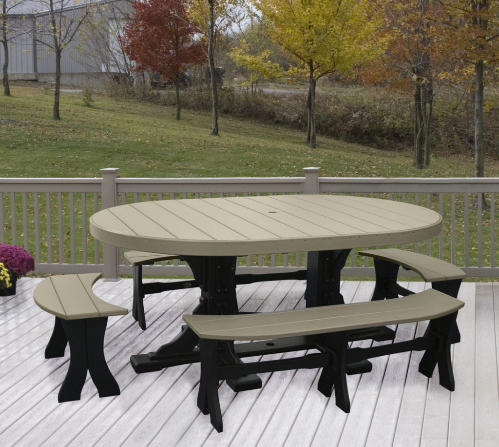 4x6 oval table set with benches