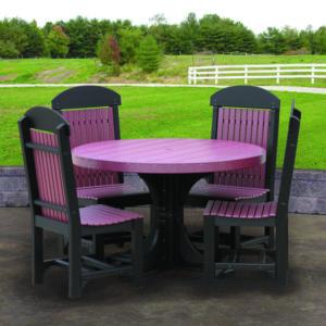 4 round table set black cherrywood