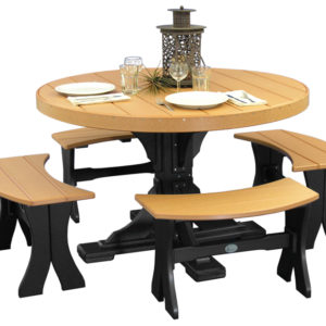 4 round table set with benches cedar black