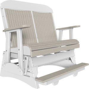 4' classic balcony glider birch woodgrain:white