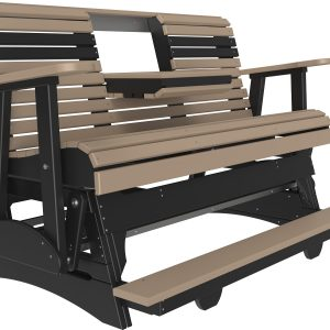 5' plain balcony glider weatherwood:black