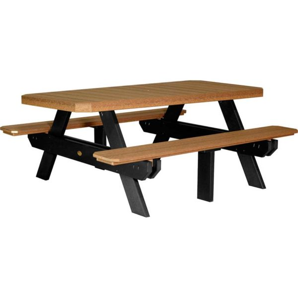 6 ft rectangular picnic table antique mahogany black