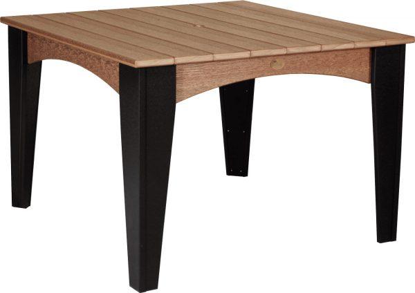 island dining table sq antique mahogany woodgrain:black